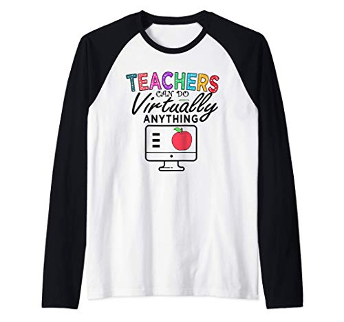 Colorful-Rainbow Cute Teachers Can Do Virtually Anything Camiseta Manga Raglan