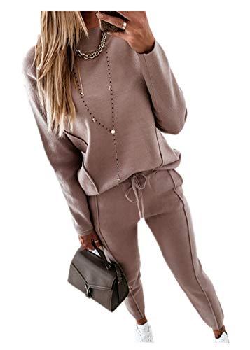 Fliegend Damen Gefütterter Freizeitanzug Casual Hausanzug Zweiteiler Hosenanzug Pullover Lange Hosen Bekleidung Set Lässige Änzuge S