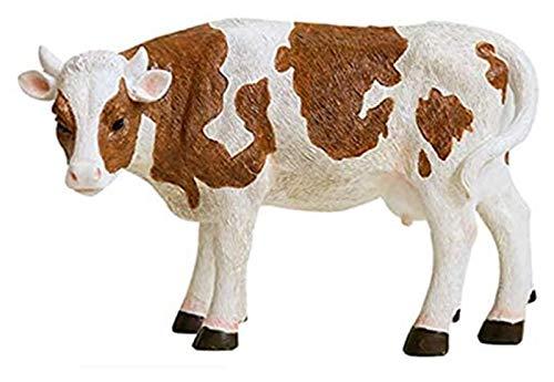 DWhui Escultura de la Estatua para la decoración del hogar Ornamento Simulación Animal de pie Ornamento de Vaca ND Becerro al Aire Libre Jardín de Resina Figure Fiebre Accesorios de Hadas