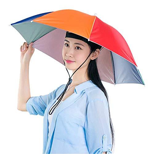 Buyfunny01 Sombrero paraguas – 27 pulgadas, manos libres, portátil, paraguas de viaje, sombrilla para pesca, jardinería, playa, camping, fiesta, No nulo, sandía, Tamaño libre