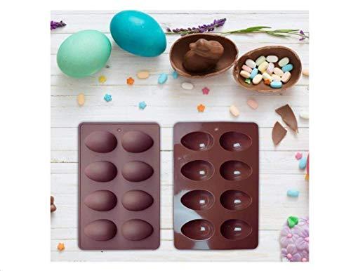 YUIP Stampo per uova di Pasqua da 2 pezzi, stampo per mezzo uovo, stampo per cioccolato, stampo per torta in silicone, usato per fare uova di Pasqua, torte o vari dessert