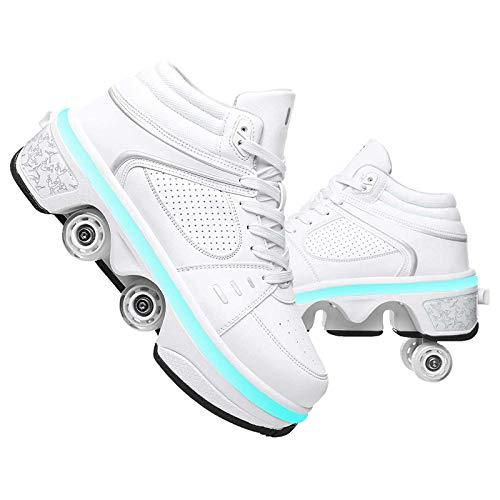 Pinkskattings@ Kinder High-Top LED Licht Blinkt Quad Skate Rollschuhe Mit USB Aufladen LED Schuhe Für Jungen Und Mädchen, Weiß,37