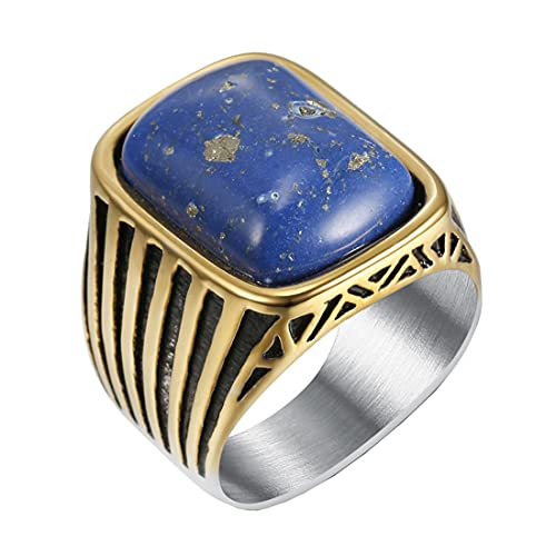 HIJONES Varonil Real Azul Diamante Anillo Cuadrado Plata Oro para Hombres Acero Inoxidable Boda Promesa Joyas Talla 19