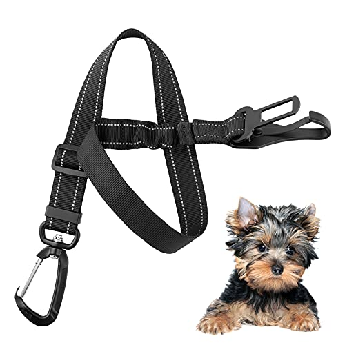 ANFOREE Adjustable Dog Seat Belt, Pet Car Safety Belt, 3-in-1 Restrain Dog in Car Seat with Strap Leash, Vehicle Dog Safety Seatbelt with Clip Hook Latch & Buckle, Swivel Aluminum Carabiner