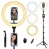 doosl Ring Light <span class='highlight'>with</span> Tripod Stand, 10'' Ring Light <span class='highlight'>with</span> 63in Stand & Phone Holder - Dimmable Beauty Ringlight for Live Stream/Makeup/YouTube Video, iPhone & Android Compatible