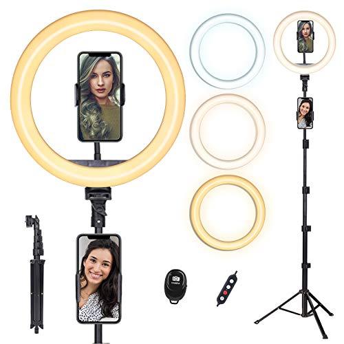 Ringlicht mit Stativ, doosl 10'' Dimmbares 3 Farbe Ringleuchte mit 1.6M Ständer, Fernbedienung&Telefonhalterung für Live-Stream/Makeup/YouTube - Handy