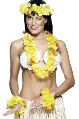 Smiffy's-22504 Set hawaiano amarillo, con collar, guirnalda para la cabeza y pulsera, color, applicable (22504) , color/modelo surtido