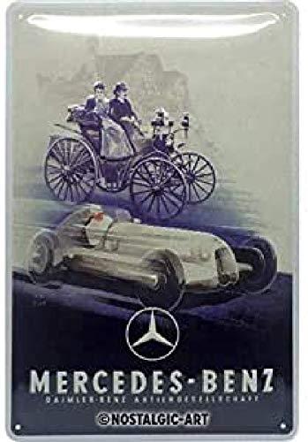 Nostalgic-Art Cartel de chapa retro Mercedes-Benz – Silver Arrow – Idea de regalo para los fans de los coches, metálico, Diseño vintage, 20 x 30 cm