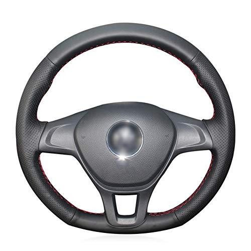 LYSHUI Funda de Volante de Cuero Negro Cosida a Mano, para Volkswagen VW Golf 7 (VII) Golf Sportsvan