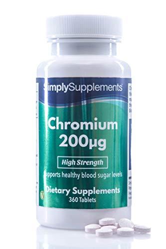 Chrome 200mcg | 360 Comprimés |Adapté aux végétaliens | Jusqu'à 1 an de bienfaits | SimplySupplements