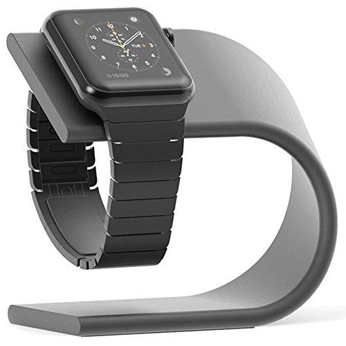 Pugo - Supporto per Apple Watch serie 4, serie 3, serie 2, serie 1, dock di ricarica (grigio spaziale)
