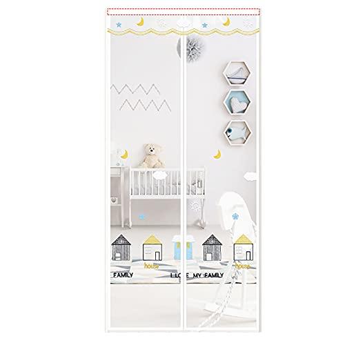 RRS Puerta de Pantalla Magnética con Apertura Lateral Izquierda Y Derecha Reversible Blanca, con Gancho Y Bucle de Marco Completo, Manos Libres, Apto para Mascotas Y Niños