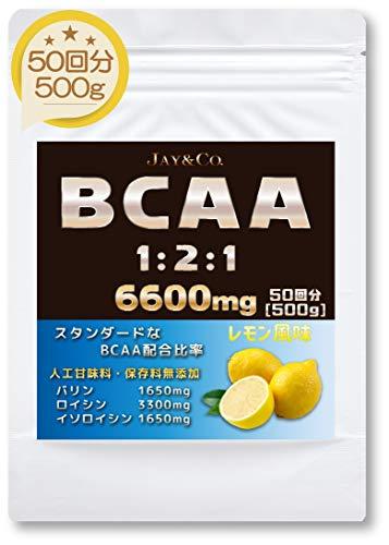 JAY&CO. (人工甘味料 合成着色料 保存料 無添加) BCAA 6600mg 1-2-1 国内製造 (レモン, 500g)