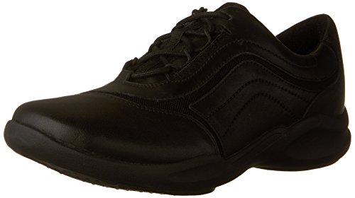 Clarks Women's Wave Skip Walking Shoe, Black Leather, 5 M US