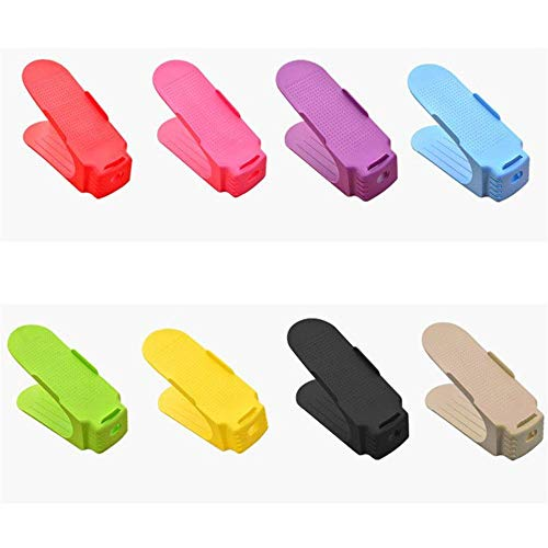 HYY-YY Organizador de zapatos para ahorrar espacio, paquete de 8 organizadores para zapatos de hombre y mujer (color mezclado, tamaño: 25 x 10 x 6 cm)