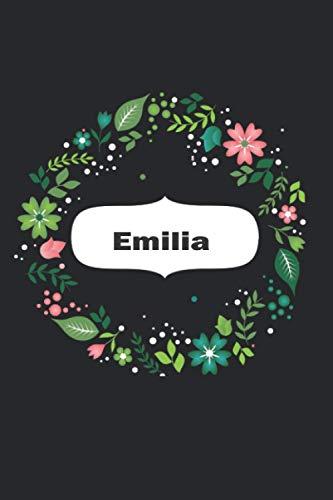 Emilia Un gran cuaderno forrado de flores personalizado para mujeres y niñas un diario para Emilia cuaderno escolar: cuaderno escola, perfecto regalo