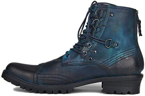 Suetar Botas de Moto Steampunk de Moda para Hombre Botas Chukka de Cuero Genuino de otoño e Invierno para Hombres Botas Cowboy de Gran tamaño Western Heel JY0051,Azul,45 EU