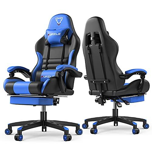Furgle Silla de juegos estilo carreras Silla de oficina con respaldo alto 4D ajustable de piel sintética ejecutiva ergonómica giratoria para videojuegos con modo mecedora (Negro/Azul1)