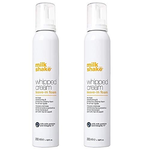 Milk_shake - Espuma acondicionadora y protectora Whipped Cream Leave-in Foam para todo tipo de cabello, 2 envases de 200 ml