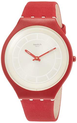 Swatch Damen Analog Quarz Uhr mit Leder Armband SVUR100