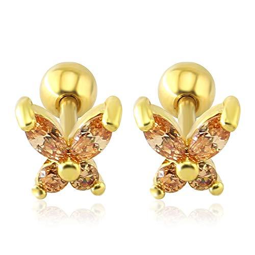 1 par hermosa mariposa cristal oreja Tragus pendientes de acero quirúrgico pendientes tragus...