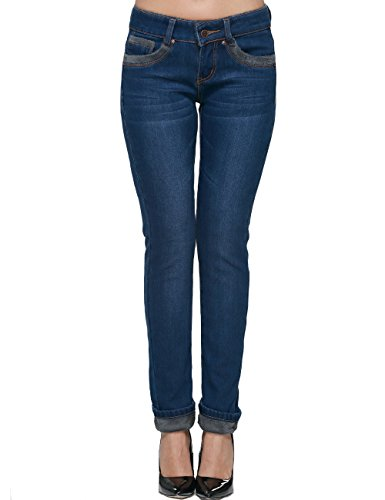 Camii Mia dames jeansbroek slim fit jeans fleece gespikkeld skinny vrije tijd denim broek