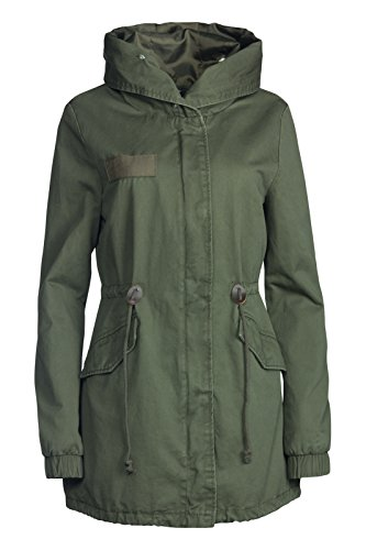 Trisens Damen Winter Jacke 3in1 Pelz Kapuze 100% Baumwolle Fell Kragen WARM GEFÜTTERT, Größe:M, Farben:Olive-Weiß