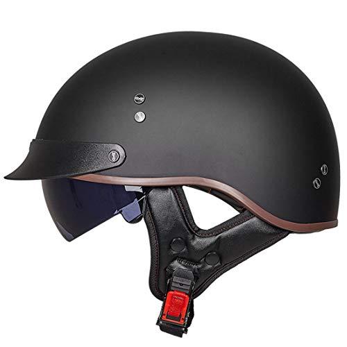 VCOROS Retro Motorrad Halbhelme Unisex-Adult Scooter Helm Open Face Cruiser Motorradhelm mit Innerer Sonnenblende (Matte Black,M)