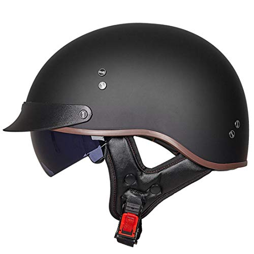 VCOROS Open Face Retro Crusier Motorcycle Helmets for Men Women Half Face Helmet (Matte Black, M)