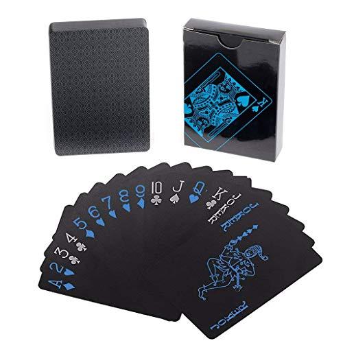 Lareina.C Schwarze Plastik Spielkarten Wasserdichtes Premium Profi Poker-Karten Zaubern Playing Cards aus Plastik für Party-Spiele