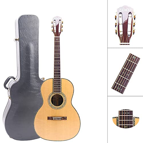 ZUWEI 39In Acoustic-Electric Guitar Solid Spruce Top Electro Acoustic Guitar - Beginner guitar with EQ, Abalone Inlay, Roseweood Fingerboard
