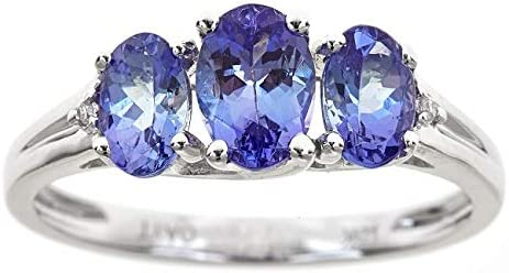 Gin ランキングTOP5 Grace 10K White Gold Blue Natural Diamond 3 Tanzanite 低価格化 St