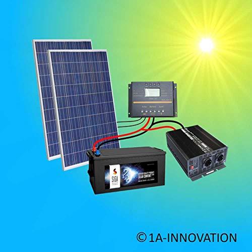 500W Komplette 220V Solaranlage TÜV mit 280Ah Qualitäts- Akku wartungsfrei + 2x 275W Qualitäts- Solarmodule + 1000W Qualitäts Spannungswandler + Laderegler 60A LCD Display Inselanlage Komplettsystem