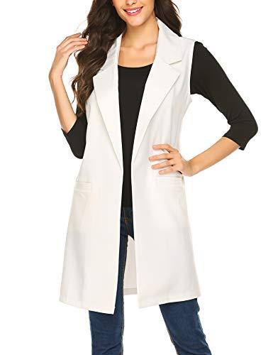 Meaneor Sleeveless Blazer for Women Long Vest Duster Blazer Jacket Coat (S, White(FBA))
