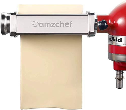 AMZCHEF Nudelroller Nudelblattroller, Set für KitchenAid-Standmixer. inklusive Nudelblattroller, Spaghettischneider, Fettuccine-SchneiderCutter