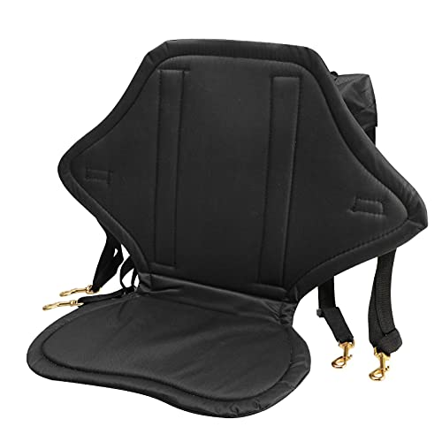 Cojín de apoyo de respaldo de barco de pesca, respaldo de canoa ajustable portátil asiento de kayak niños con soporte de espalda (negro)