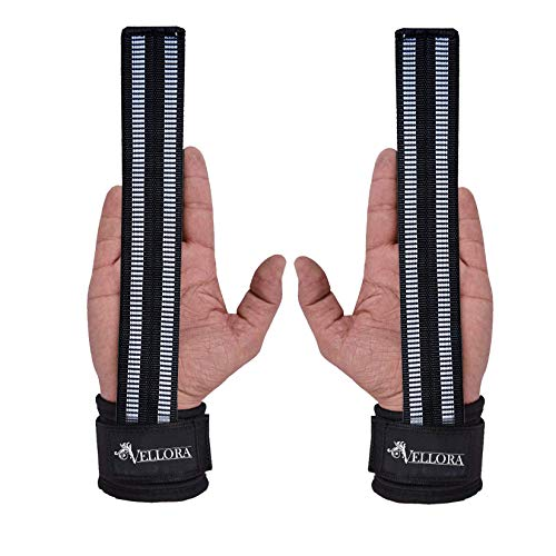 VELLORA Lifting Wrist Straps (Pair) for Weightlifting, Bodybuilding, Powerlifting, Xfit, Strength Training, Deadlifts (Free Size, Black)