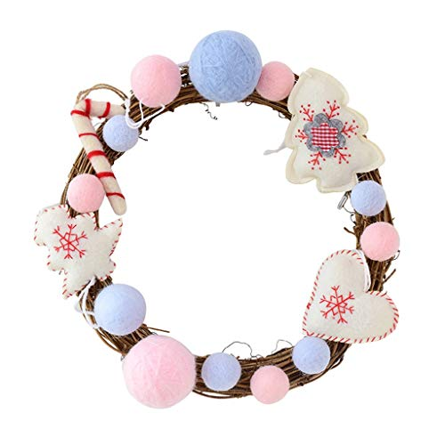 Artificial wreath Handmade 12 Inches Wreath Garland Merry Christmas Wreath with Natural Wicker Nordic Plush Candy Wreath Front Door Wreaths for Home Kitchen Wall Window Hall Decor Simulation wreath