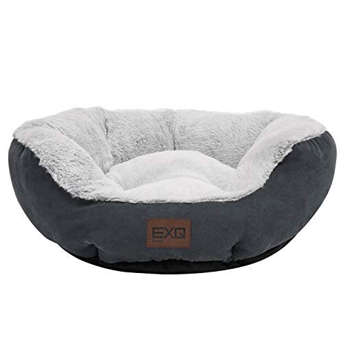 EXQ Home Soft Grey Cat Beds for Indoor Cats Clearance,Fluffy Calming Cat Bed with Slip-Resistant Bottom,Plush Round Dog Beds for Small Dogs,20 inch...