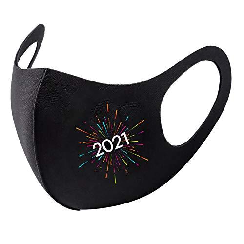 ShaDiao 1 Stück Erwachsene Fashional 2021 Frohes Neues Jahr Eisseide Mundschutz Atmungsaktiv Waschbar Wiederverwendbar Mund-Nasen-Schutz Windschutz- und Staubschutzbandanas