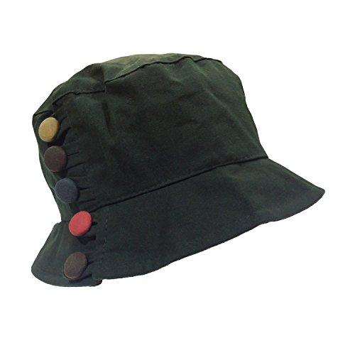 i-Smalls i-smalls Damen Eliza faltbarer Baumwoll gewachster Hut mit Knopfdetail Gr. Einheitsgröße, Eliza Olive