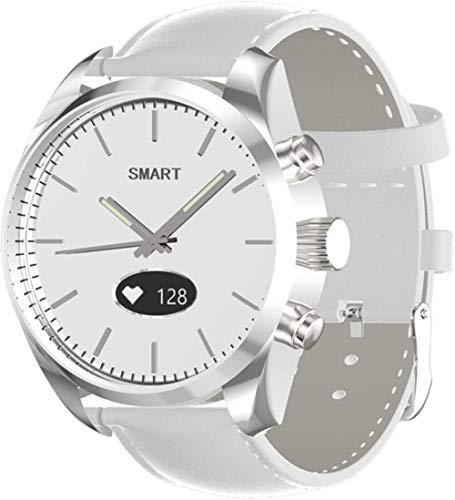 AMBM Toleda T4 Relojes de cuarzo para mujer de natación a prueba de agua Relojes Inteligentes BT Hybrid Smart Watch Monitor de frecuencia cardíaca (color: cuero marrón)-cuero blanco