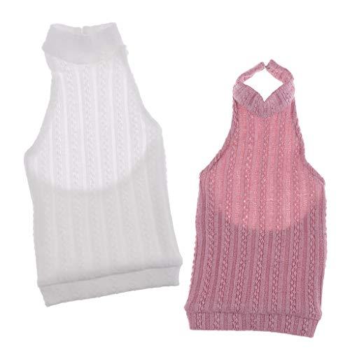 FLAMEER 2 Stücke Puppenkleidung Gestrickte Rückenfreie Rollkragen Weste Für 1/3 BJD Puppe ( Pink + Weiß )