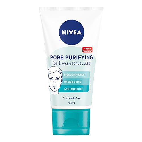 NIVEA 3-in-1 Wash Scrub Mask (150ml), All in One Face Scrub, Face Wash and...