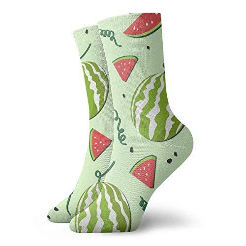 shizh Hellgrünes Wassermelonen-Schnittmuster Mode Kleid Socken Casual Socken Reise Sport Socken Yoga Walking Radfahren Laufen Fußball,30cm