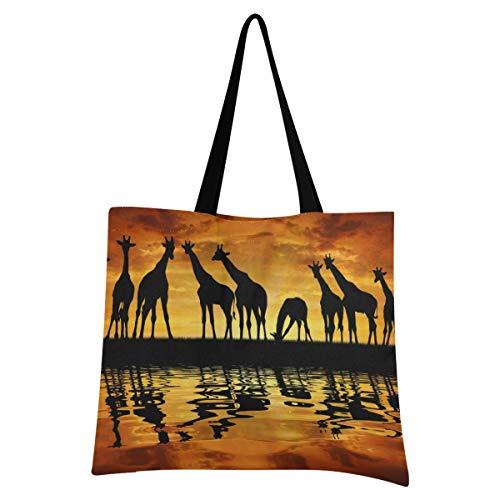 XIXIXIKO - Bolsa ligera de lona para la playa, diseño de jirafa africana con animales en la puesta de sol, para mujeres, niñas, compras, gimnasio, playa, viajes diarios