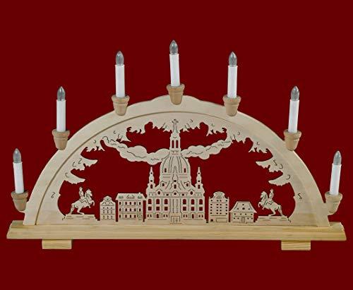 yanka-style Schwibbogen Lichterbogen Leuchter Frauenkirche Dresden traditionelles Motiv 7flammig 57 cm breit Weihnachten Advent Geschenk Dekoration (83145-36)