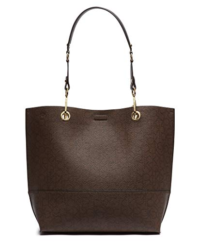 Calvin Klein Sonoma Double Handle Signature North/South Tote with Removable Wristlet Pouch, Chocolate Black