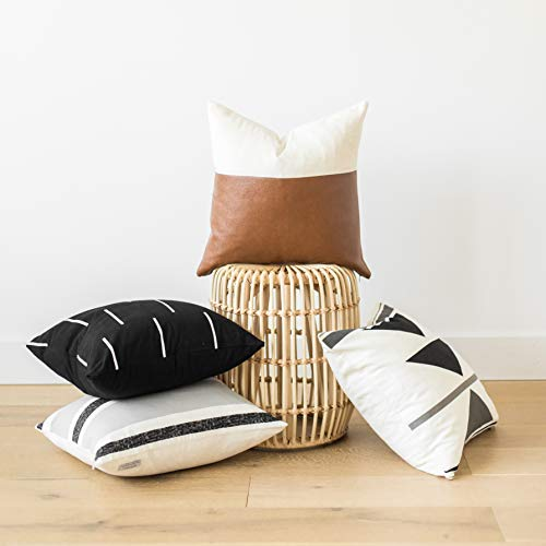 Woven Nook Decorative Throw Pillow Covers, 100% Cotton with Faux Leather, Zulu Set, Pack of 4 (18