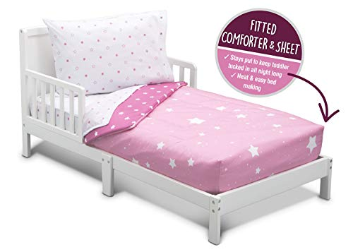 Toddler Bedding Set | Girls 4 Piece Collection | Fitted...